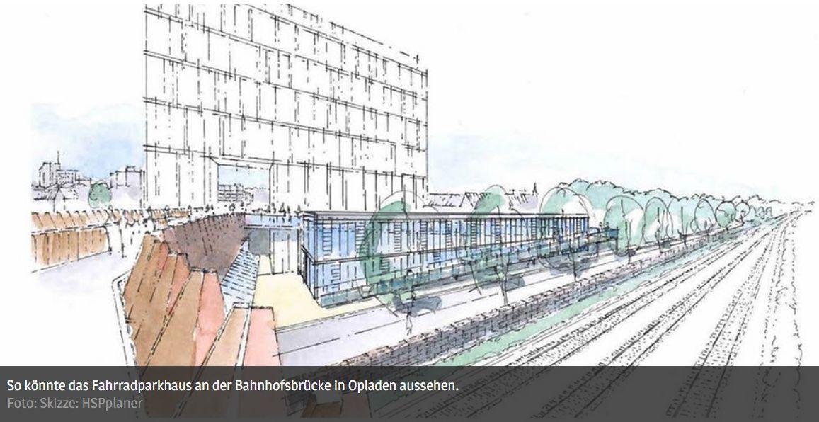So könnte das Fahrradparkhaus an der Bahnhofsbrücke in Opladen aussehen - ©-Foto - Skizze - HSPplaner