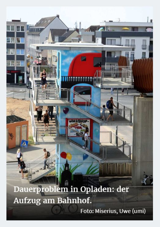 Dauerproblem in Opladen - der Aufzug am Bahnhof ©-Foto Miserius Uwe (umi)