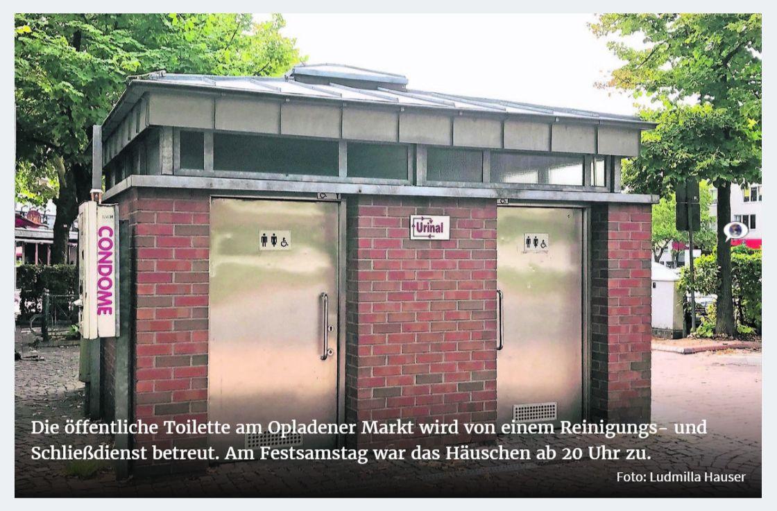 Opladen Besucher ärgerten sich beim Stadtfest über die abends verschlossene WC-Anlage am Markt. Zuständig sind die TBL. ©-Foto Ludmilla Hauser